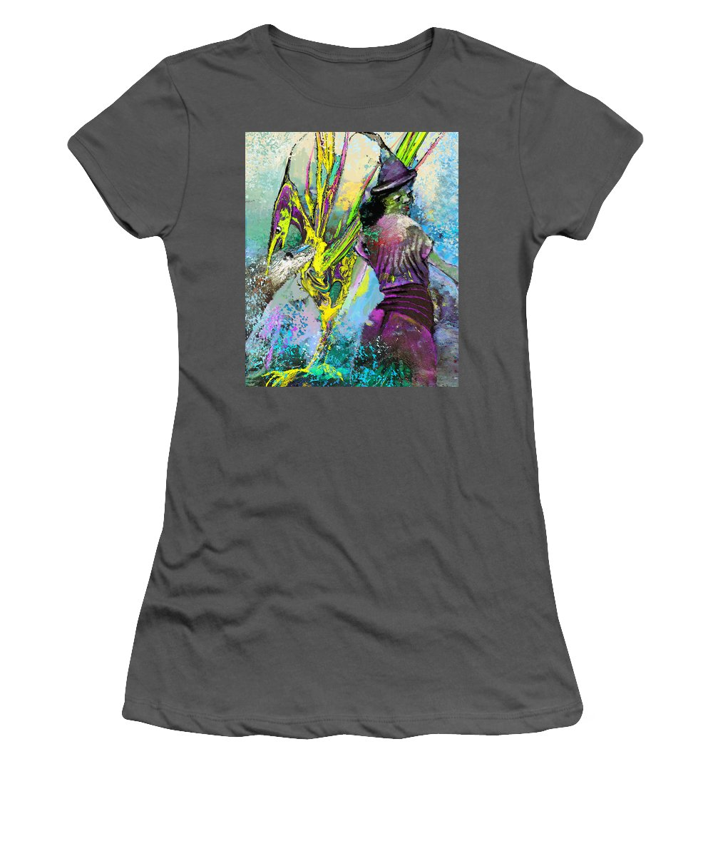 Fantasy Women's T-Shirt (Athletic Fit) featuring the painting Willow Bird by Miki De Goodaboom