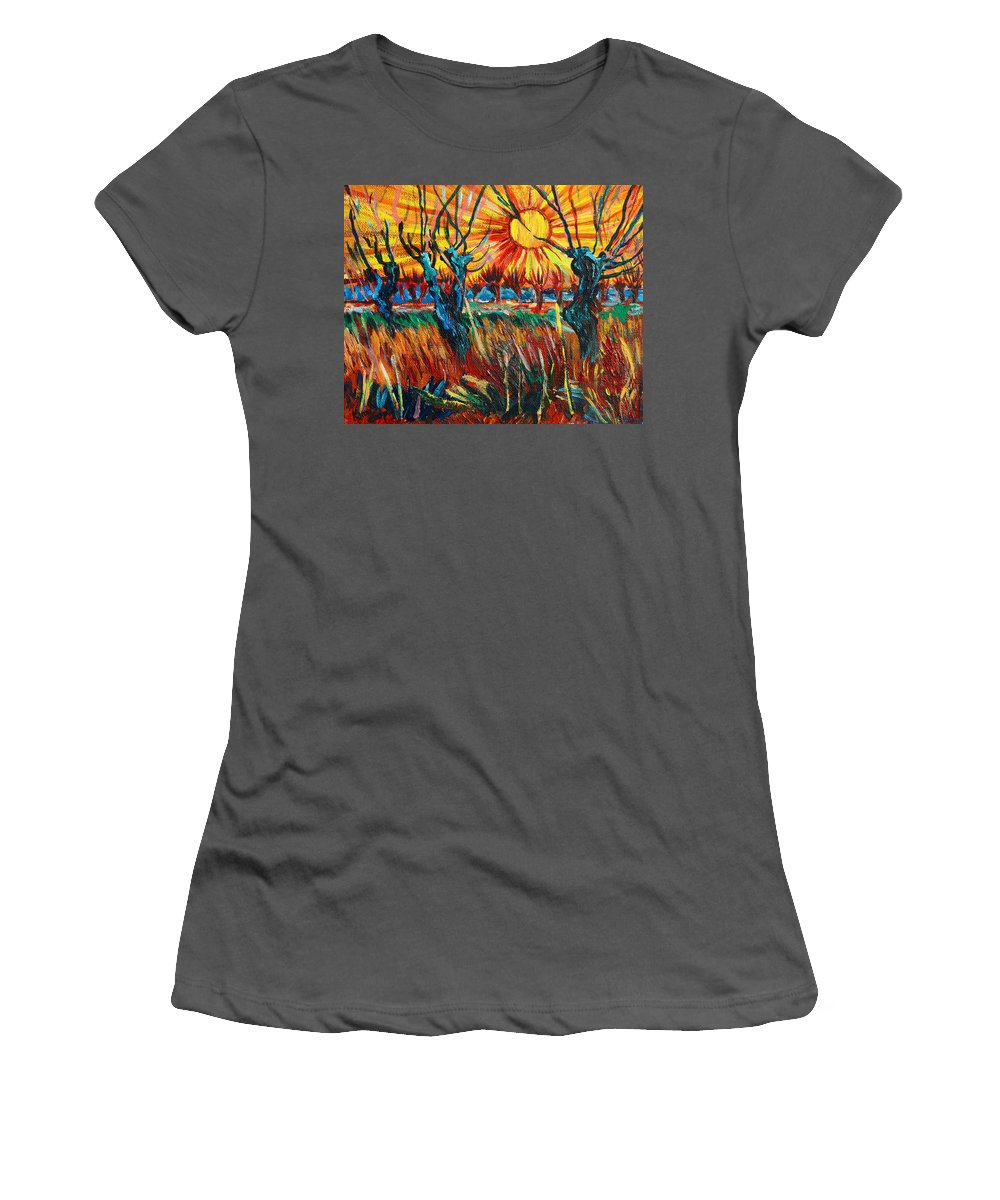 Van Gogh Women's T-Shirt (Athletic Fit) featuring the painting Willows At Sunset - Study Of Vincent Van Gogh by Karon Melillo DeVega
