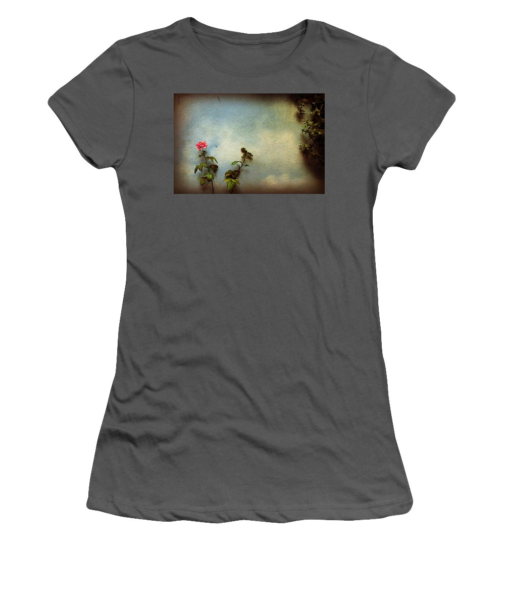Rose Women's T-Shirt (Athletic Fit) featuring the photograph Wilting Rose by Silvia Ganora