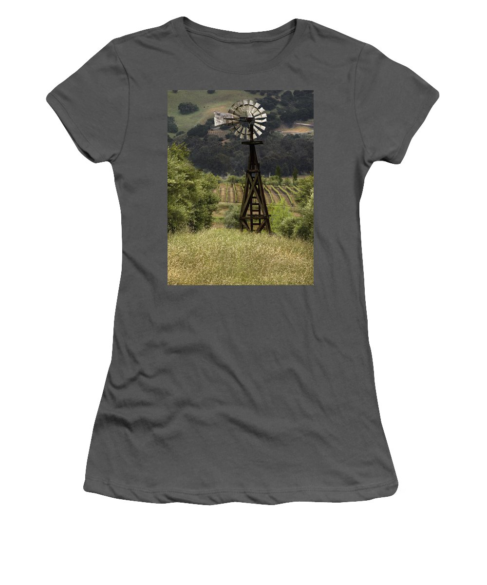 Landscape Women's T-Shirt (Athletic Fit) featuring the photograph Windmill And Vineyards by Karen W Meyer