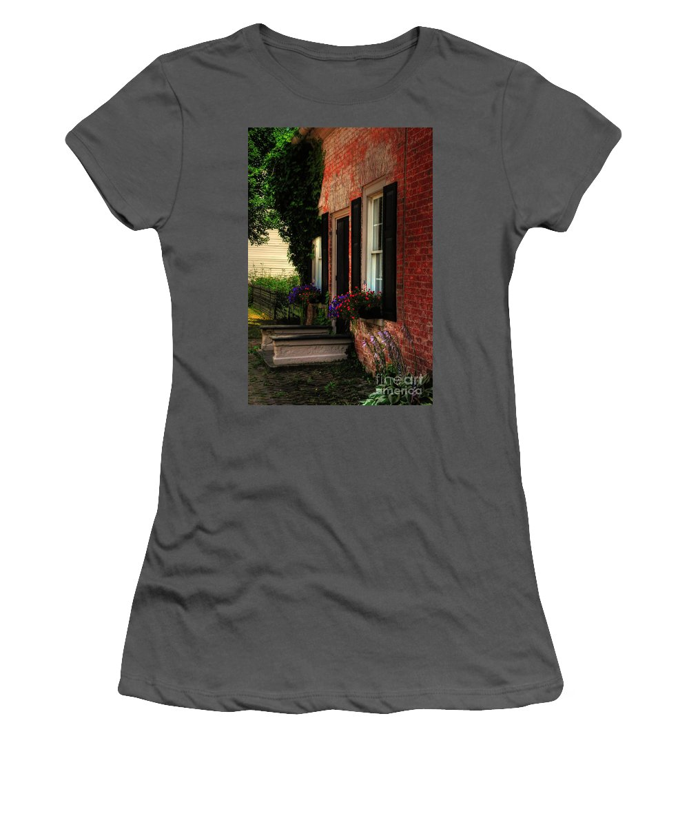 Window Boxes Women's T-Shirt (Athletic Fit) featuring the photograph Window Boxes by Lois Bryan