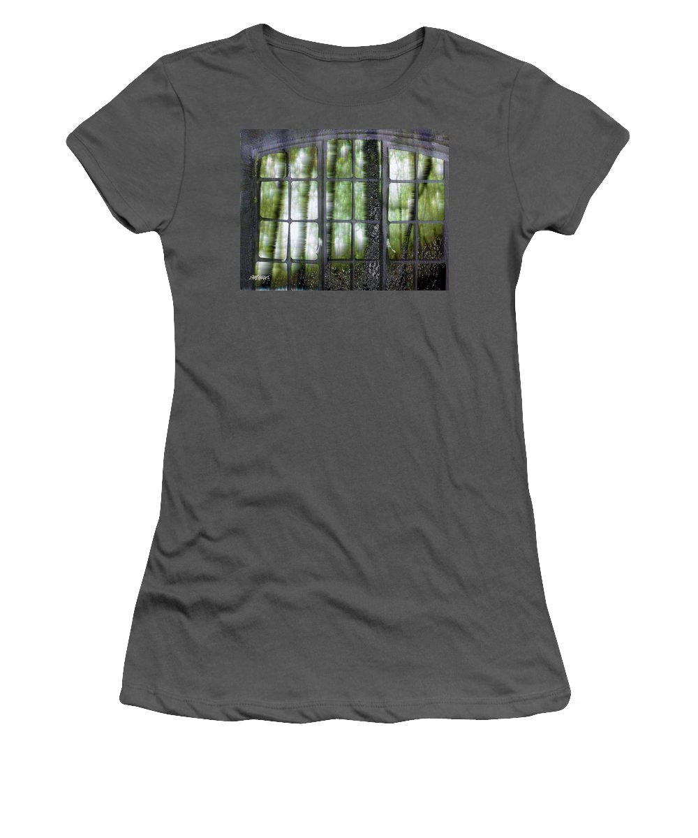 Window On The Woods Women's T-Shirt (Athletic Fit) featuring the digital art Window On The Woods by Seth Weaver