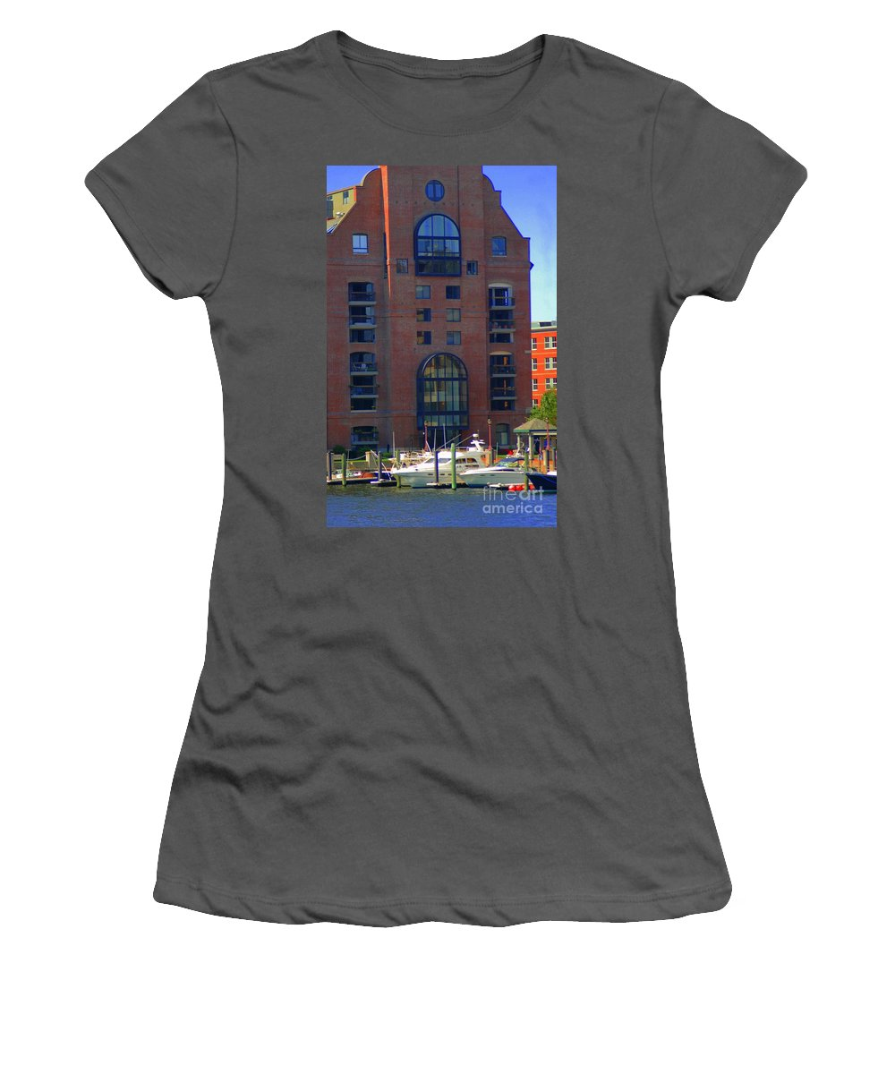 Building Women's T-Shirt (Athletic Fit) featuring the photograph Window Reflections by Kathleen Struckle