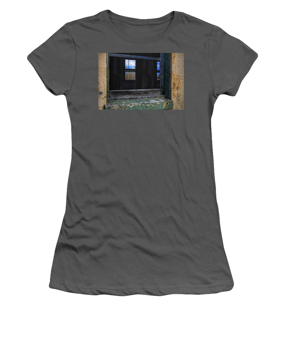 Abandoned Buildings Women's T-Shirt (Athletic Fit) featuring the photograph Window View by Frank Morris