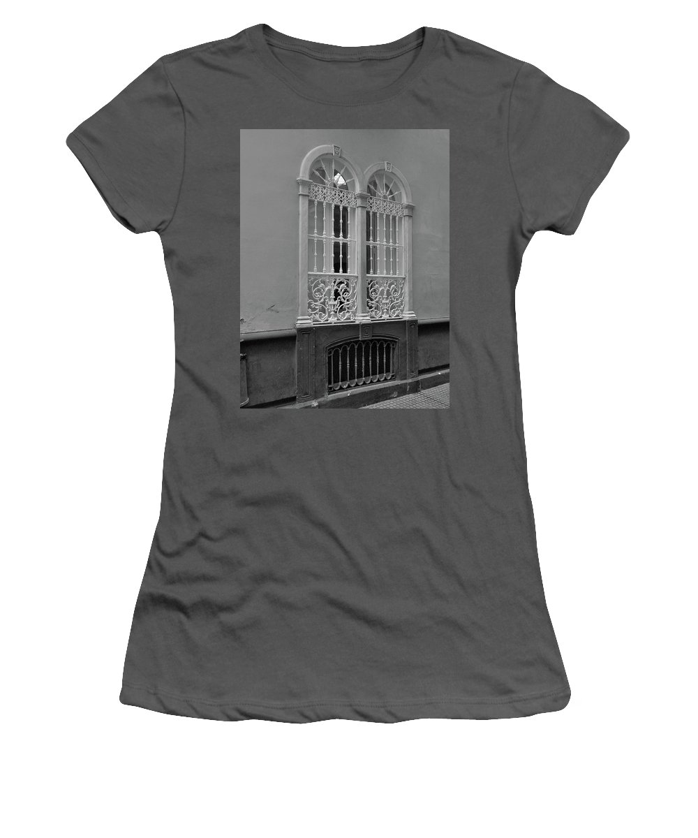 Home Decor Women's T-Shirt (Athletic Fit) featuring the photograph Windows At Cadiz Bw by Mark Victors