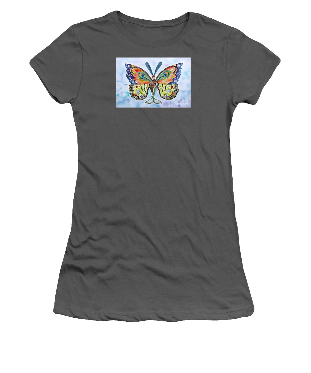 Butterfly Women's T-Shirt (Junior Cut) featuring the painting Winged Metamorphosis by Lucy Arnold
