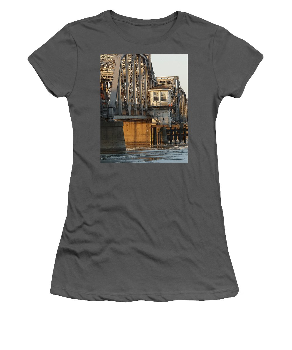 Bridge Women's T-Shirt (Athletic Fit) featuring the photograph Winter Bridgehouse by Tim Nyberg