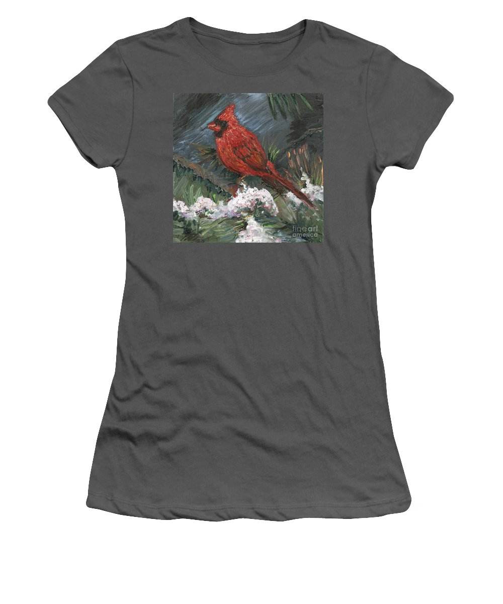Bird Women's T-Shirt (Athletic Fit) featuring the painting Winter Cardinal by Nadine Rippelmeyer