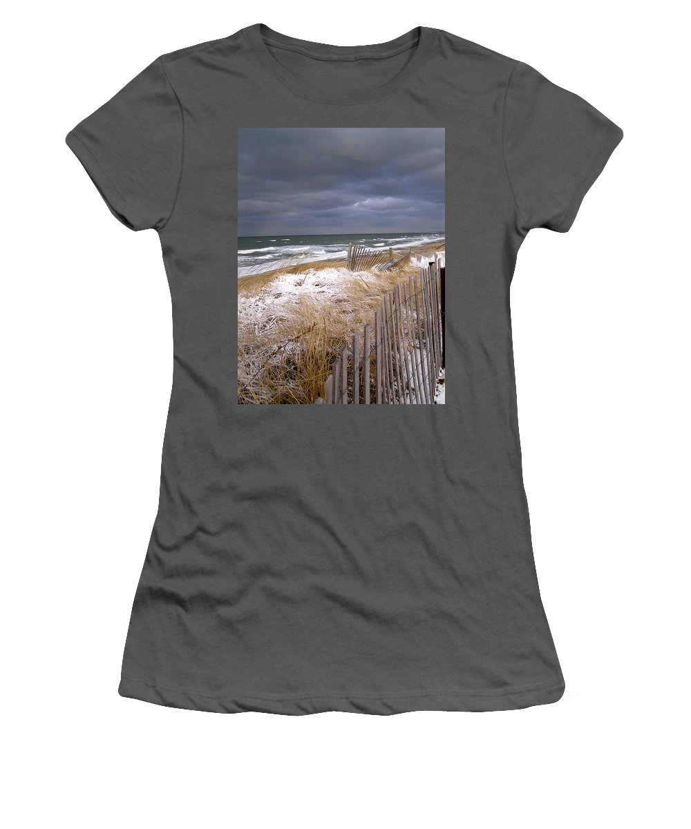 Cape Cod Women's T-Shirt (Athletic Fit) featuring the photograph Winter On Cape Cod by Charles Harden