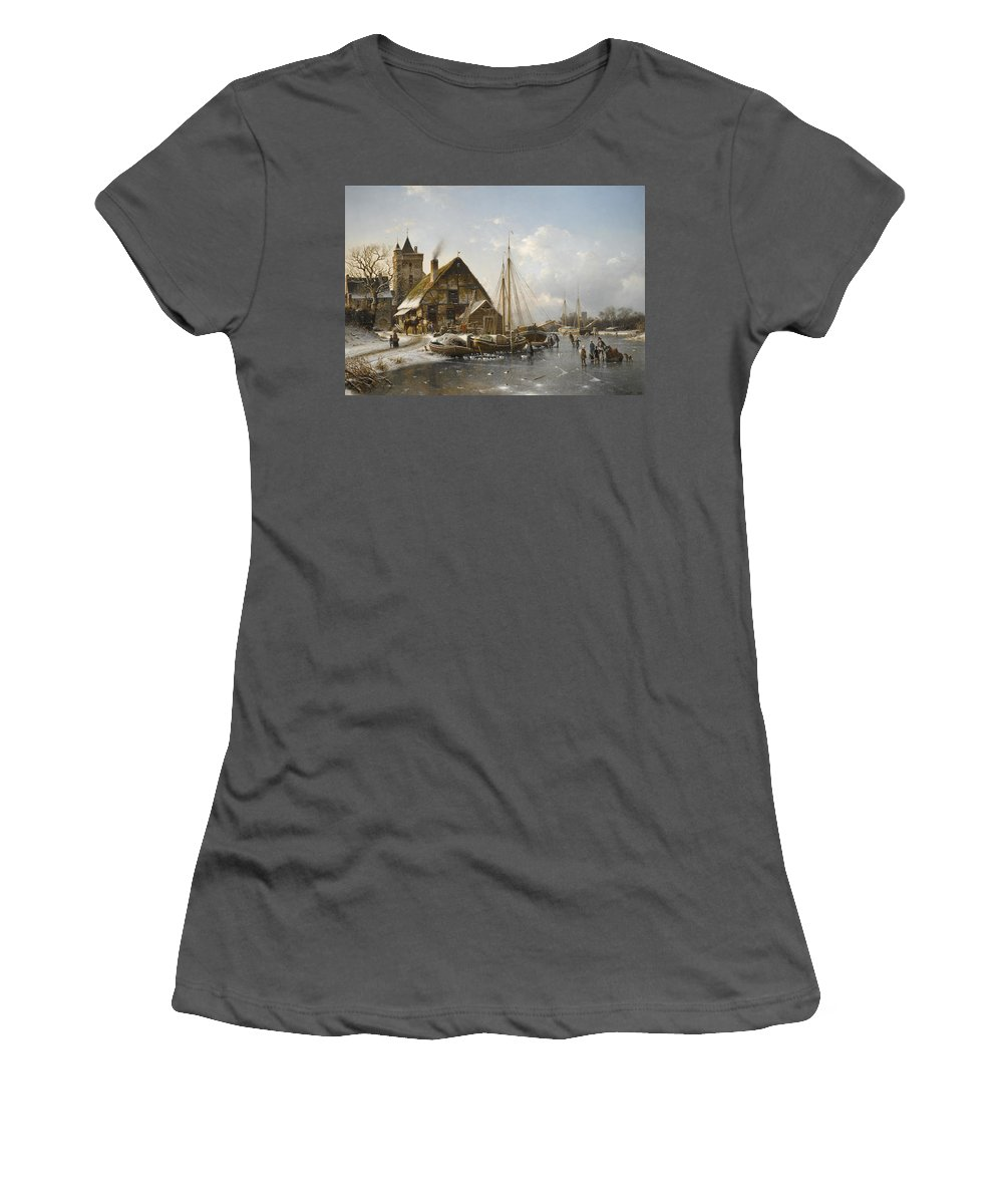 Johannes Duntze Women's T-Shirt (Athletic Fit) featuring the painting Winter On The Rhine by Johannes Duntze