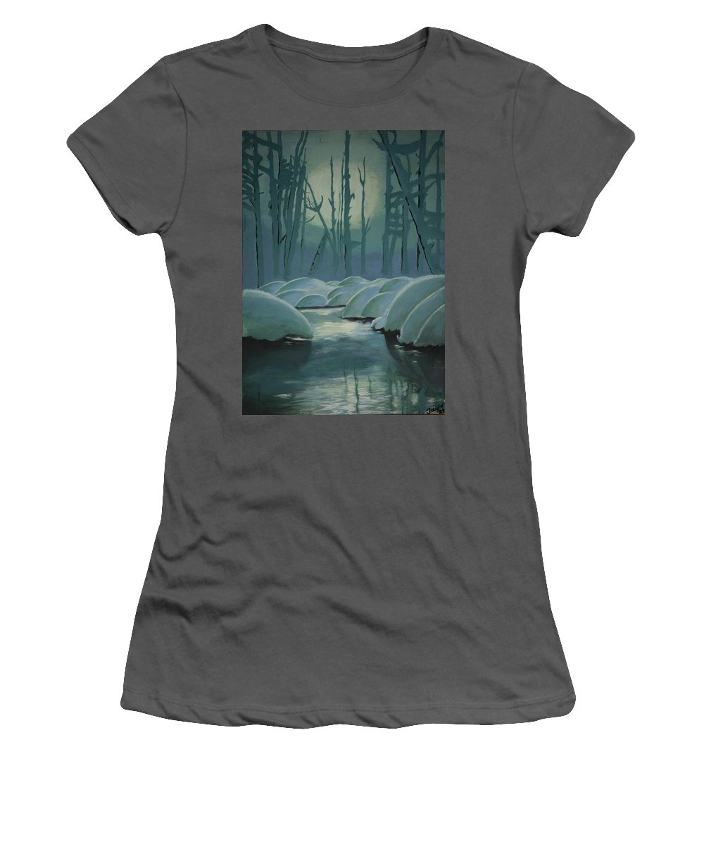 River Women's T-Shirt (Athletic Fit) featuring the painting Winter Quiet by Jacqueline Athmann