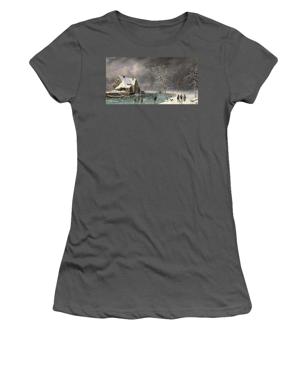 Winter Scene By Louis Claude Mallebranche (1790-1838) Women's T-Shirt (Athletic Fit) featuring the painting Winter Scene by Louis Claude Mallebranche