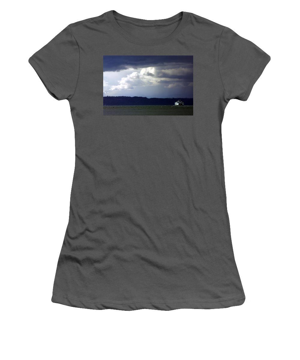 Winter Women's T-Shirt (Athletic Fit) featuring the pyrography Winter Storm by Karen Ulvestad