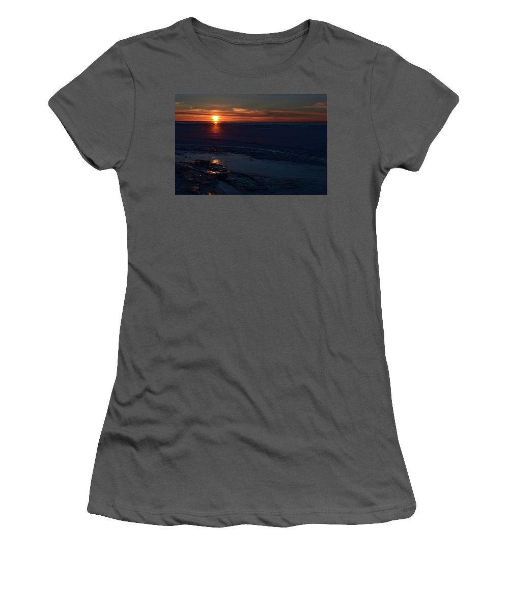 Abstract Women's T-Shirt (Athletic Fit) featuring the photograph Winter Sunrise At Lake Simcoe by Lyle Crump