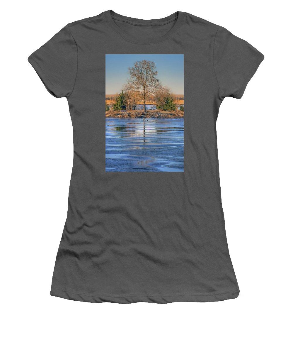 Lone Tree Women's T-Shirt (Athletic Fit) featuring the photograph Winter Tree - Walnut Creek Lake by Nikolyn McDonald