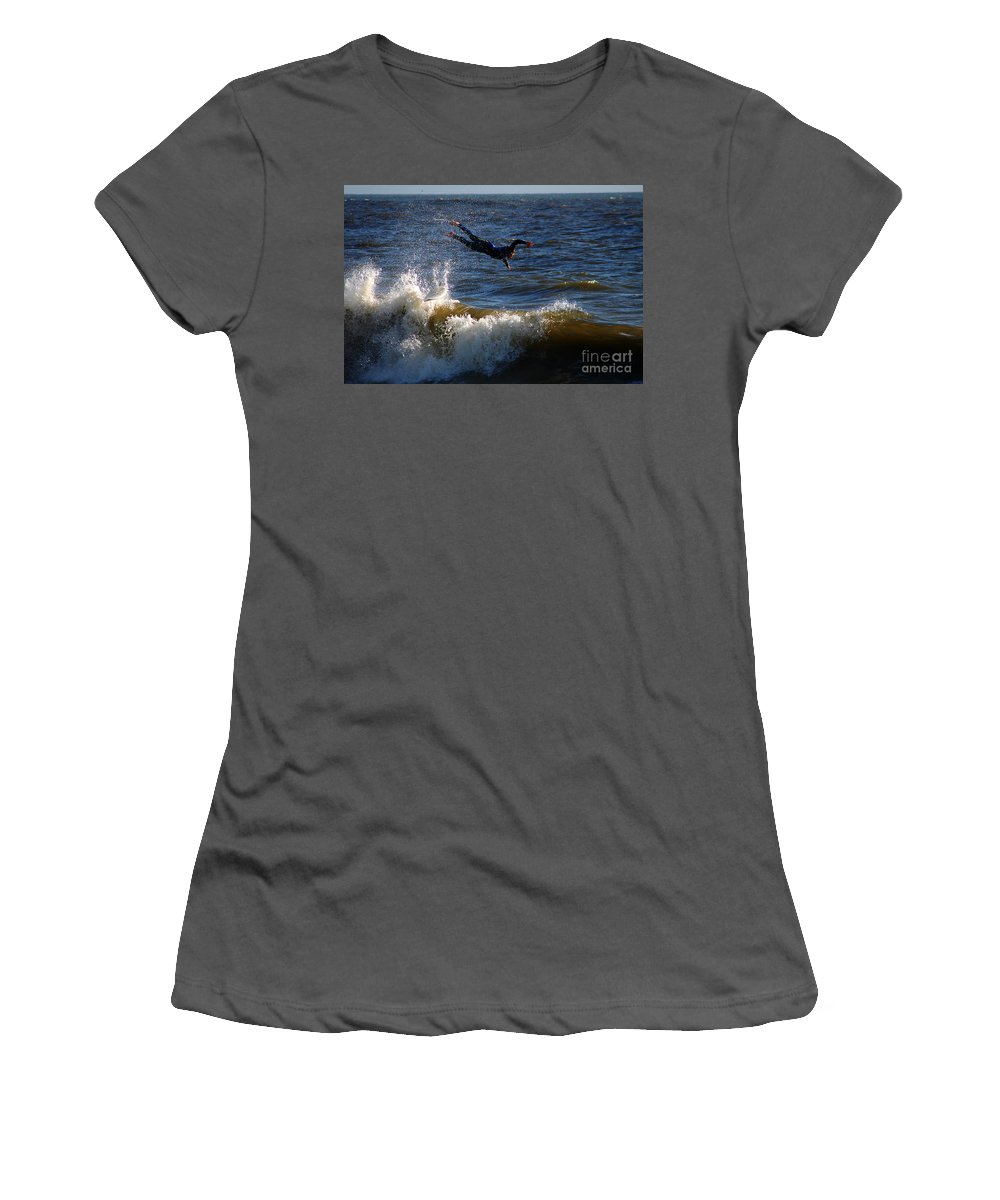 Clay Women's T-Shirt (Athletic Fit) featuring the photograph Wipe Out by Clayton Bruster