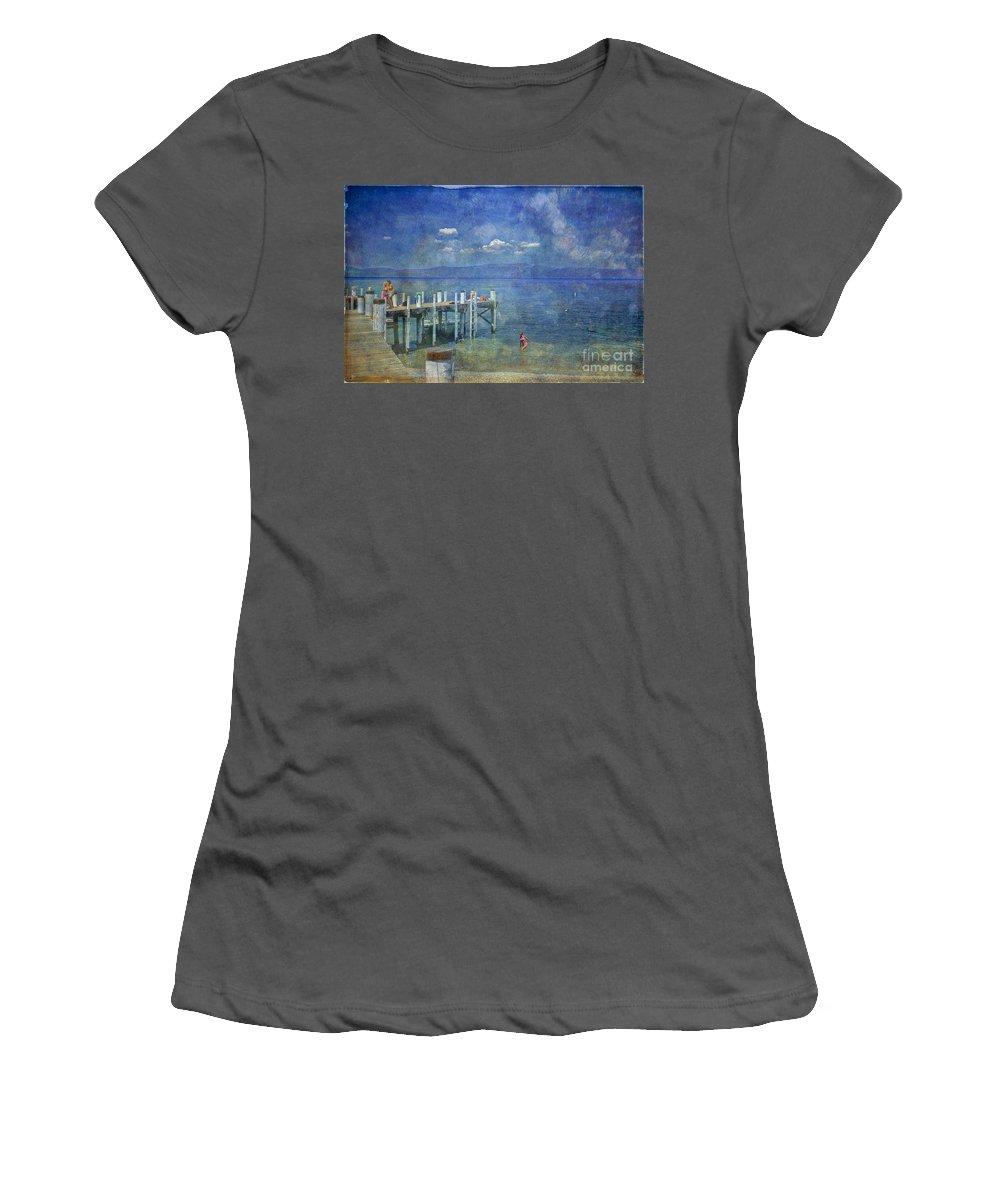 Chambers Landing Lake Tahoe Ca Women's T-Shirt (Athletic Fit) featuring the photograph Wish You Were Here Chambers Landing Lake Tahoe Ca by David Zanzinger
