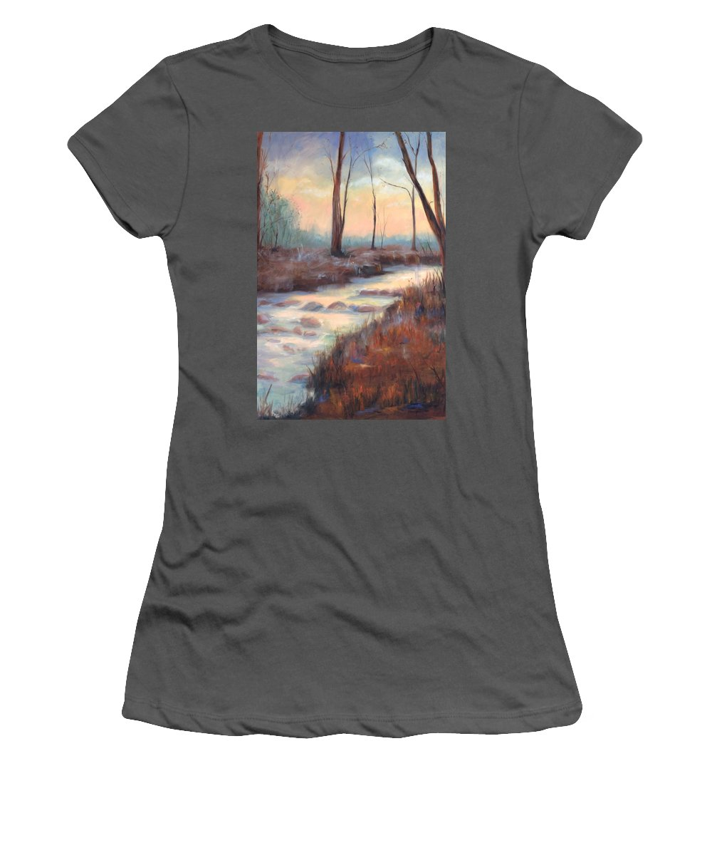 Creeks Women's T-Shirt (Athletic Fit) featuring the painting Wolf Creek by Ginger Concepcion