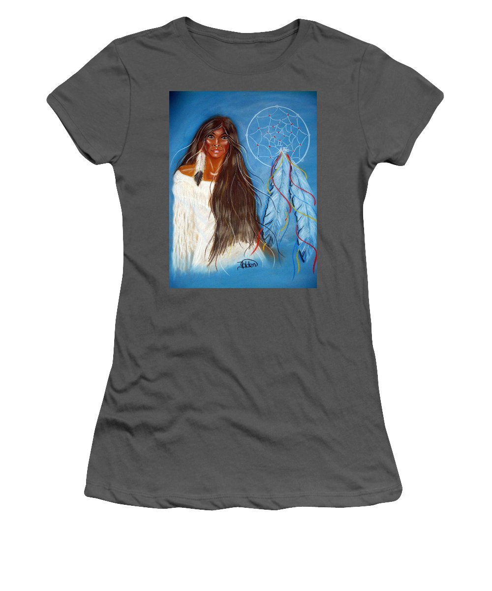 Wolf Women's T-Shirt (Athletic Fit) featuring the pastel Wolf Woman by Jo Hoden