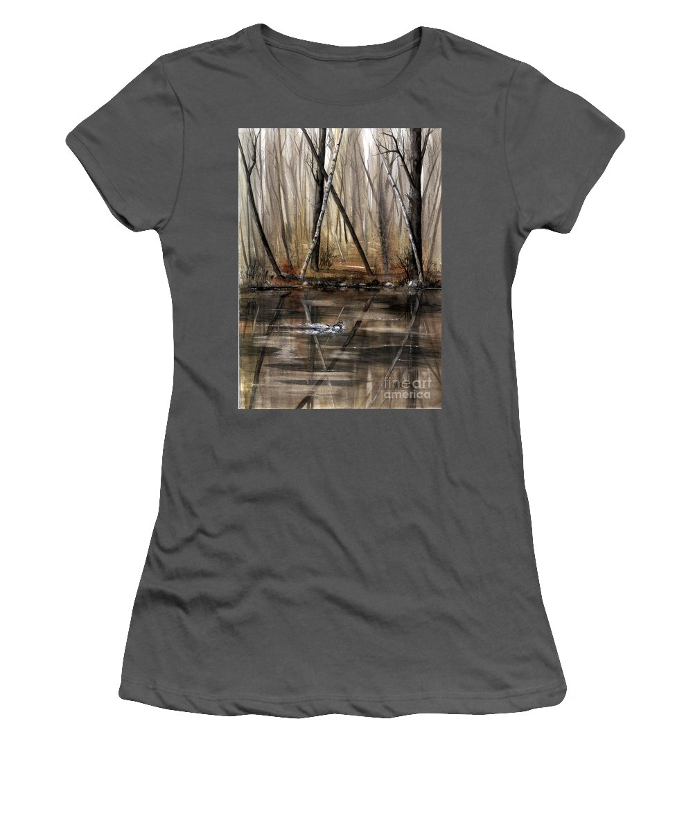 Nature Women's T-Shirt (Athletic Fit) featuring the painting Wood Duck On Pond by Mary Tuomi