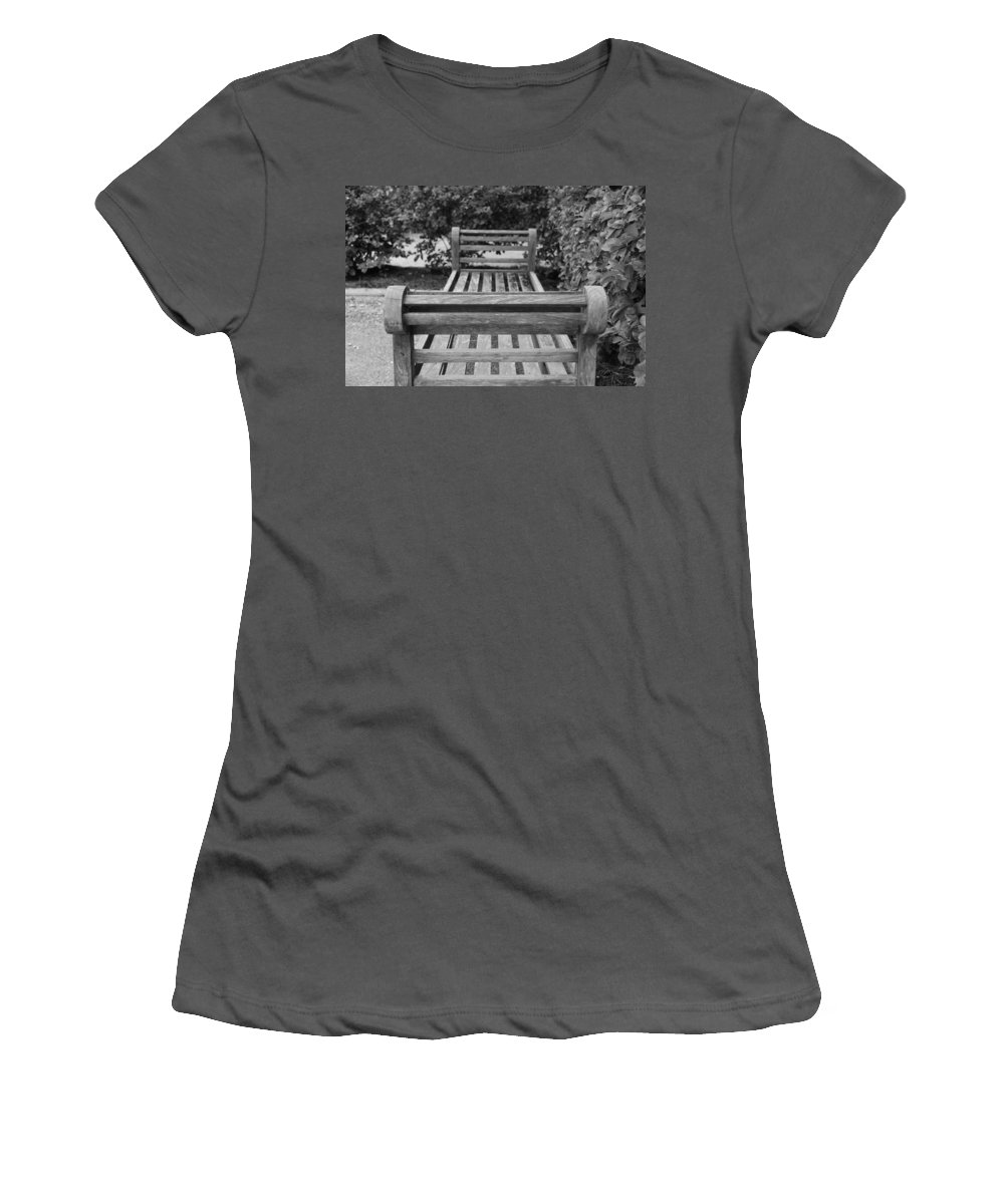 Bushes Women's T-Shirt (Athletic Fit) featuring the photograph Wooden Bench by Rob Hans