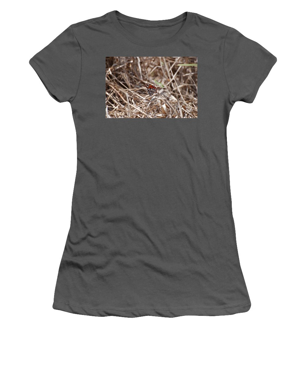 Butterfly Women's T-Shirt (Athletic Fit) featuring the photograph Wooden Butterfly by Rob Hans