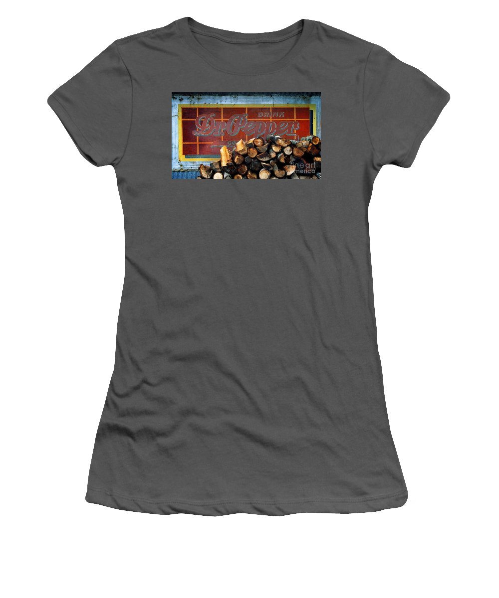 Dr Pepper Women's T-Shirt (Athletic Fit) featuring the photograph Woodpile With Taste - Dr Pepper Rustic Antique Red Country Southwest by Jon Holiday