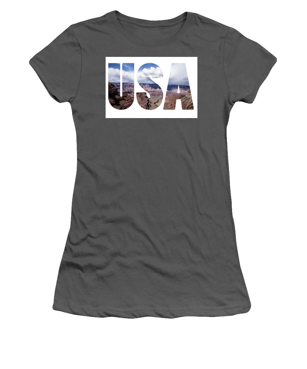 Colorado Women's T-Shirt (Athletic Fit) featuring the photograph Word Usa Grand Canyon National Park, Arizona by Mariusz Prusaczyk