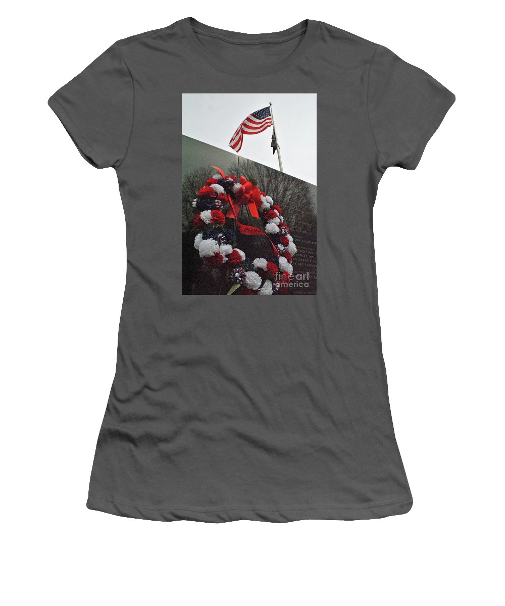 Wreath Women's T-Shirt (Athletic Fit) featuring the photograph Wreath Of The Korean War by Jost Houk