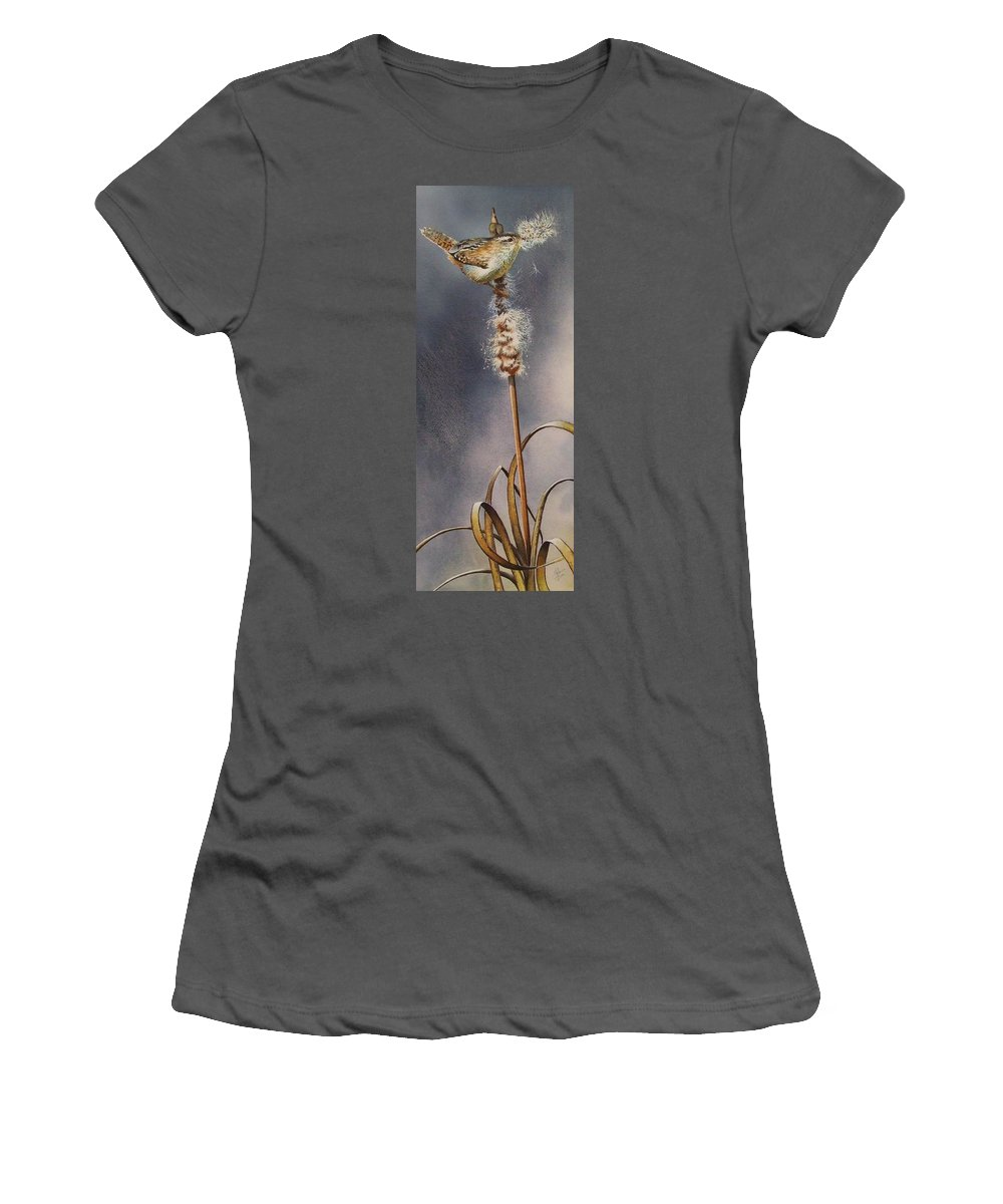 Marshwren Women's T-Shirt (Athletic Fit) featuring the painting Wren And Cattails by Greg and Linda Halom