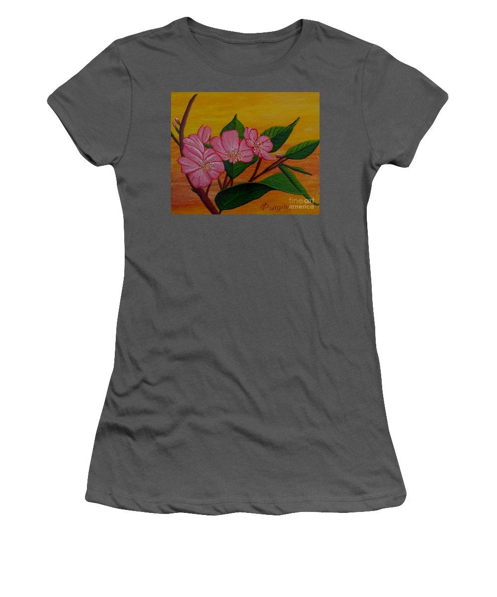 Yamazakura Women's T-Shirt (Athletic Fit) featuring the painting Yamazakura Or Cherry Blossom by Anthony Dunphy