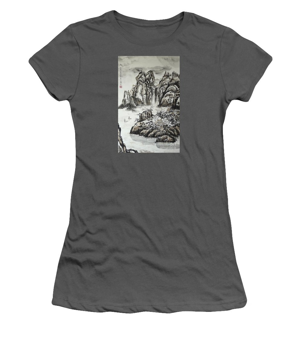 Chinese Women's T-Shirt (Athletic Fit) featuring the painting Yangze River With Water Fall by Birgit Moldenhauer
