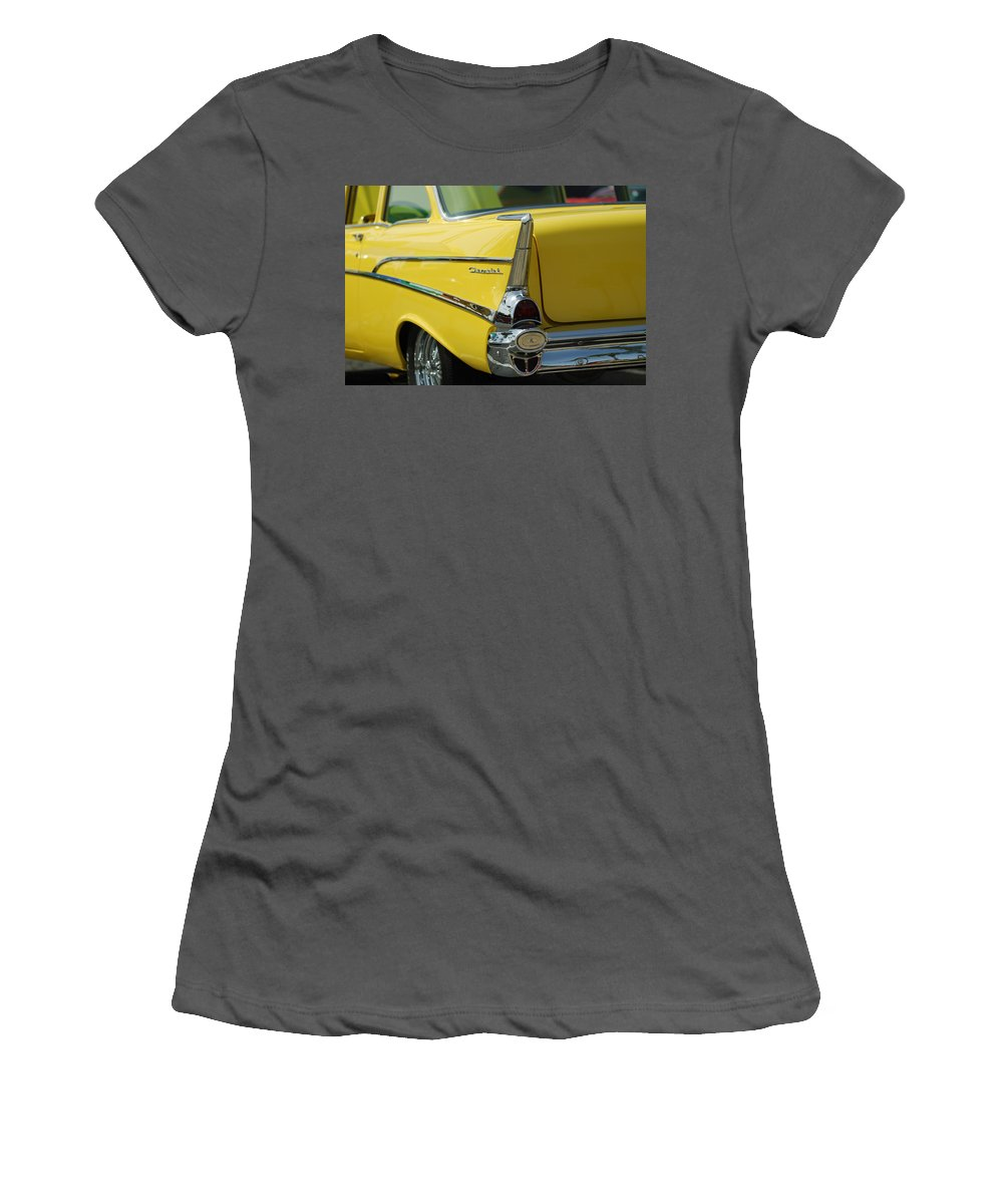 Car Women's T-Shirt (Athletic Fit) featuring the photograph Yellow Chevrolet Tail Fin by Jill Reger