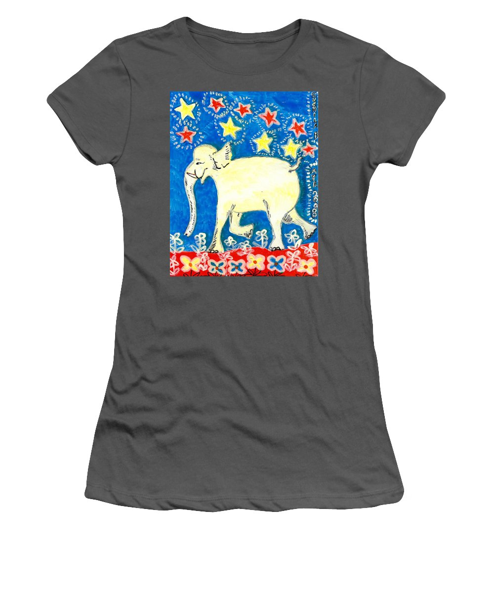 Sue Burgess Women's T-Shirt (Athletic Fit) featuring the painting Yellow Elephant Facing Left by Sushila Burgess