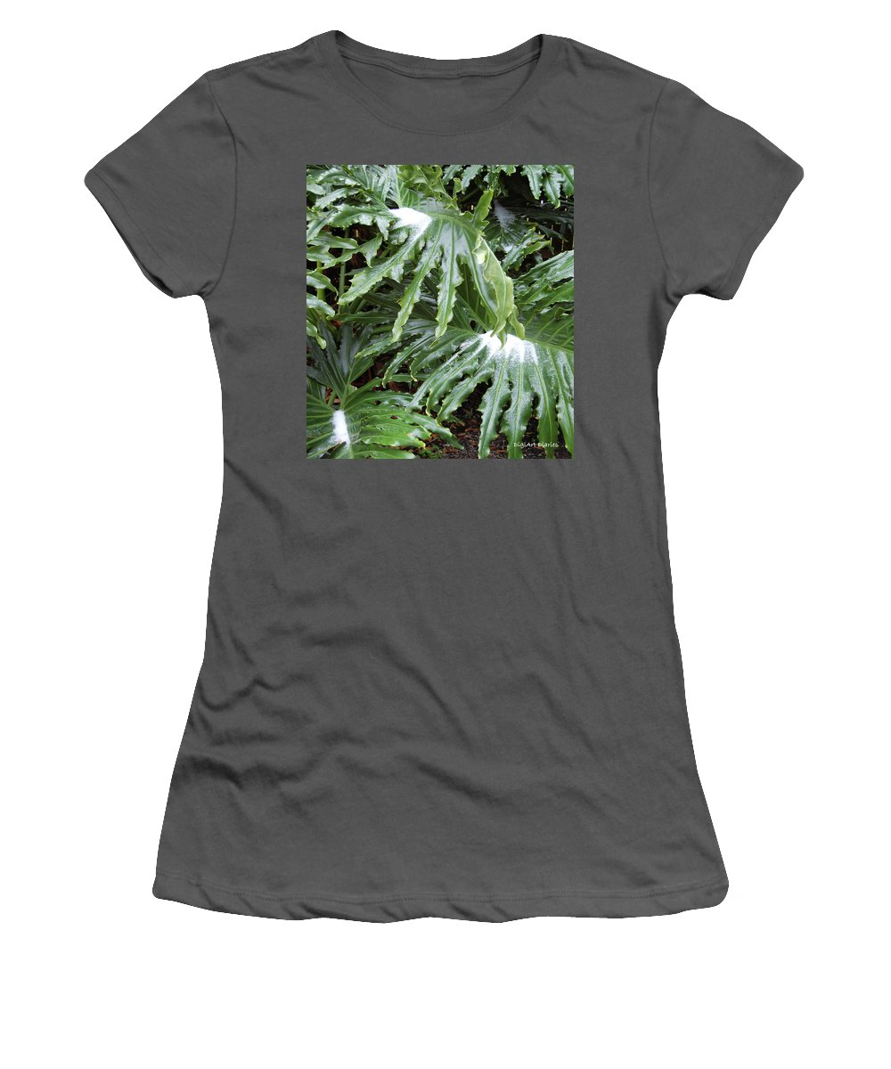Philodendron Women's T-Shirt (Athletic Fit) featuring the digital art Yes Snow In Florida by DigiArt Diaries by Vicky B Fuller