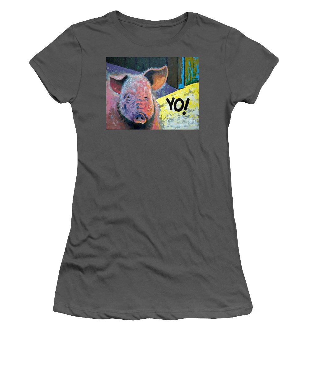 Painting Women's T-Shirt (Athletic Fit) featuring the painting Yo Pig by Suzanne McKee