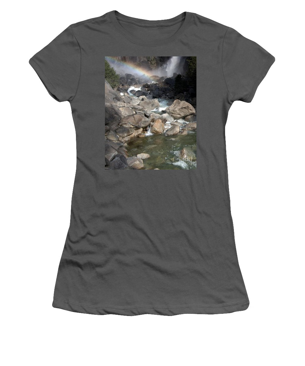 California Parks Women's T-Shirt (Athletic Fit) featuring the photograph Yosemite Falls Rainbow by Norman Andrus
