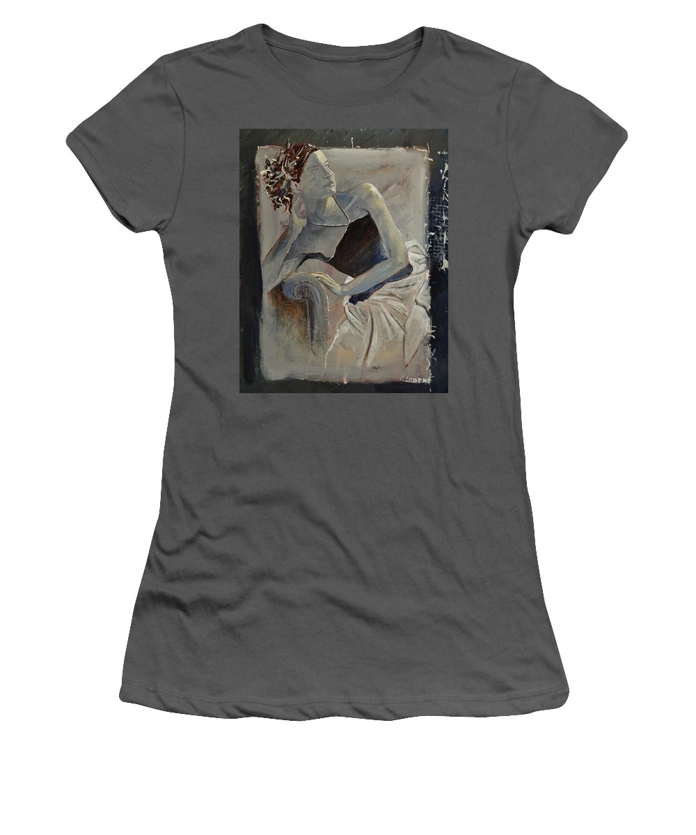 Girl Women's T-Shirt (Athletic Fit) featuring the painting Young Girl 4501502 by Pol Ledent