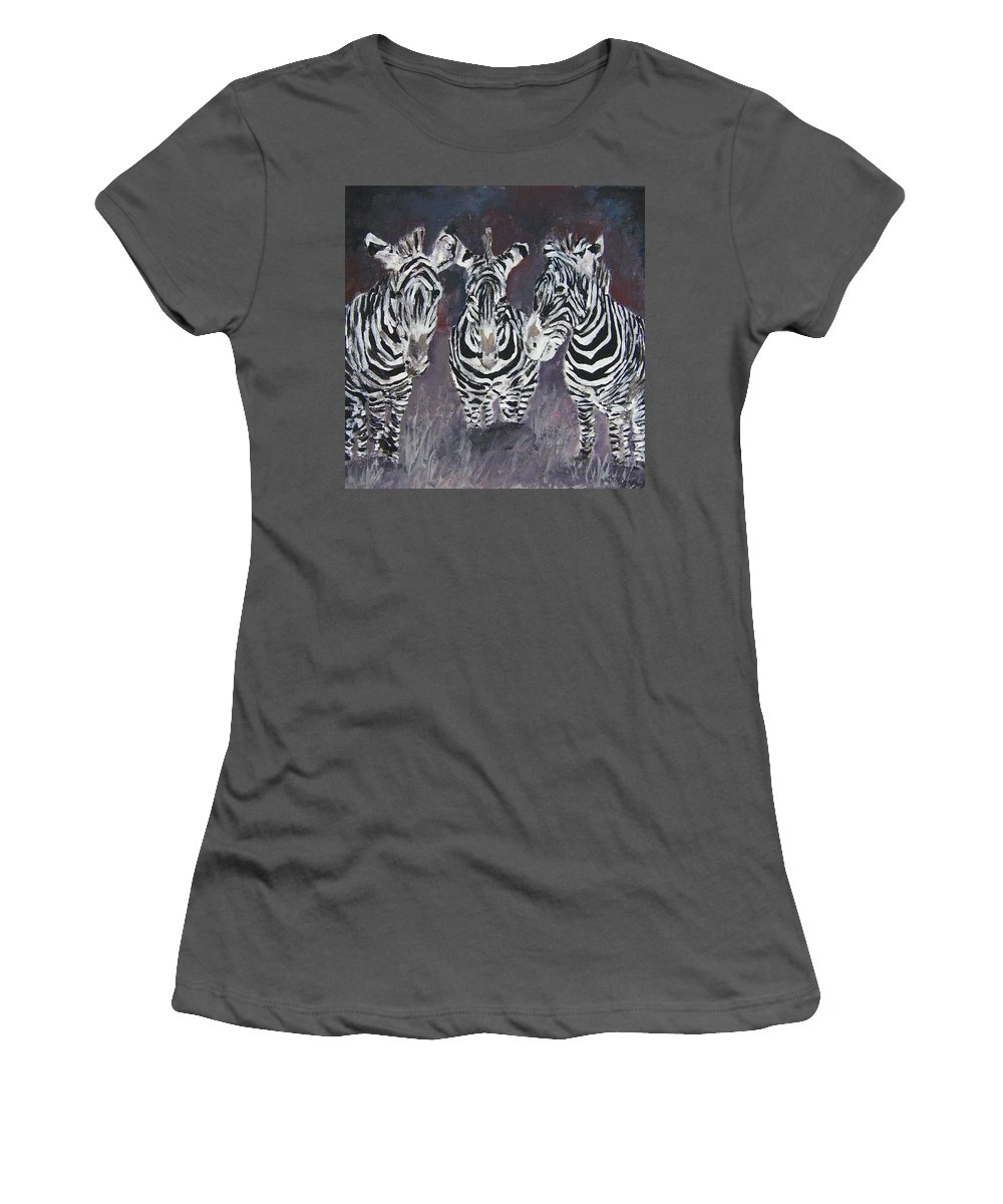 Zebra Women's T-Shirt (Athletic Fit) featuring the painting Zebra Oil Painting by Derek Mccrea