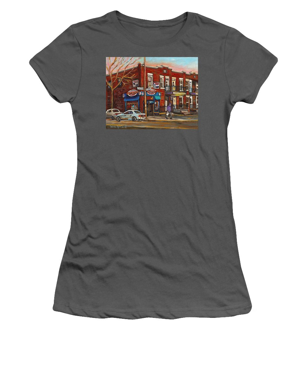 Deli Women's T-Shirt (Athletic Fit) featuring the painting Zytynsky's Deli Rosemont Montreal by Carole Spandau