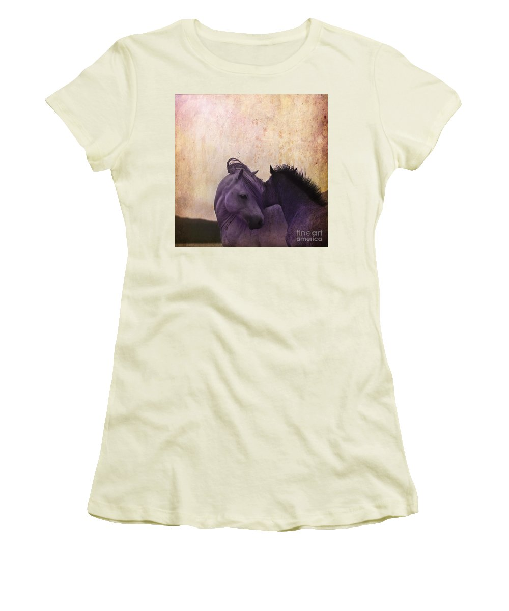 Horse Women's T-Shirt (Athletic Fit) featuring the photograph Cuddle Me by Angel Ciesniarska