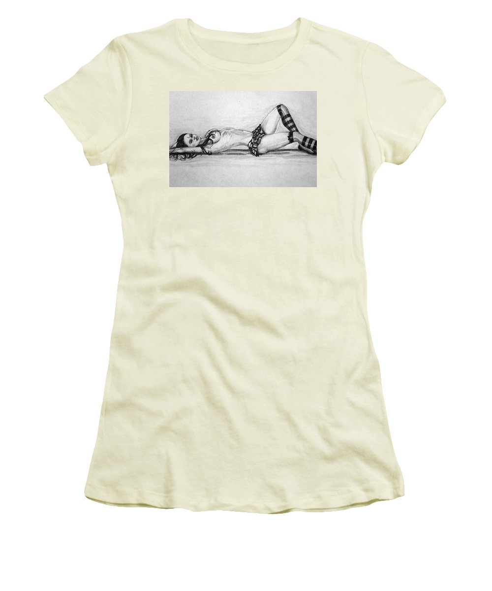 Model Women's T-Shirt (Athletic Fit) featuring the drawing Model by Alban Dizdari