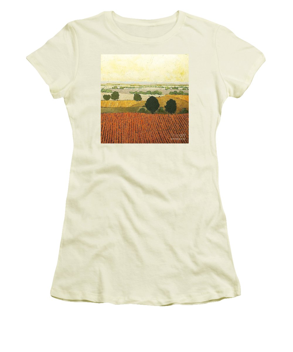 Landscape Women's T-Shirt (Athletic Fit) featuring the painting After Harvest by Allan P Friedlander