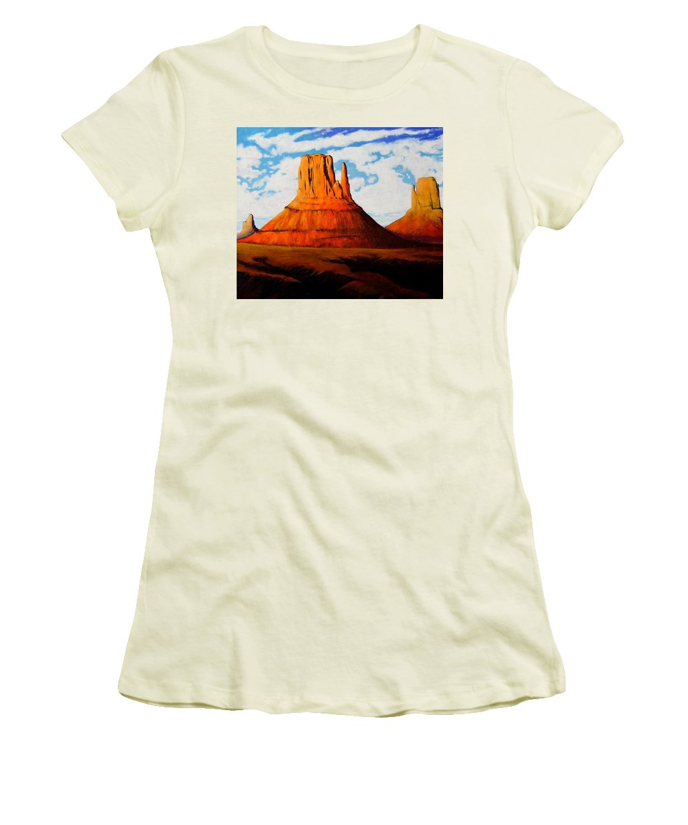 Landscape Of Western Usa Women's T-Shirt (Athletic Fit) featuring the painting Ancient Land Monument Valley by Joe Triano