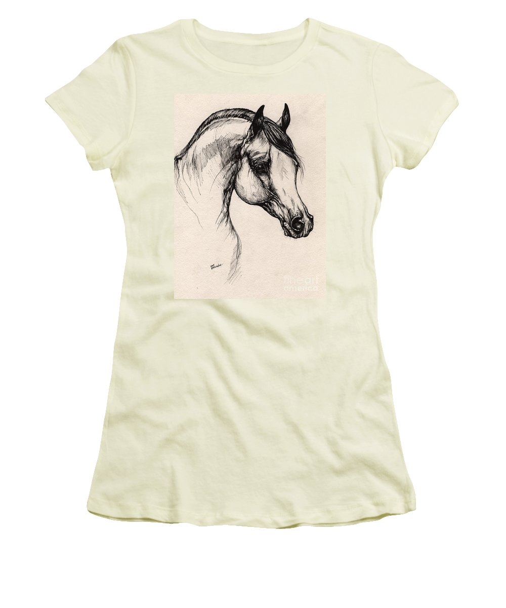 Horse Women's T-Shirt (Athletic Fit) featuring the drawing Arabian Horse Drawing 24 by Angel Ciesniarska