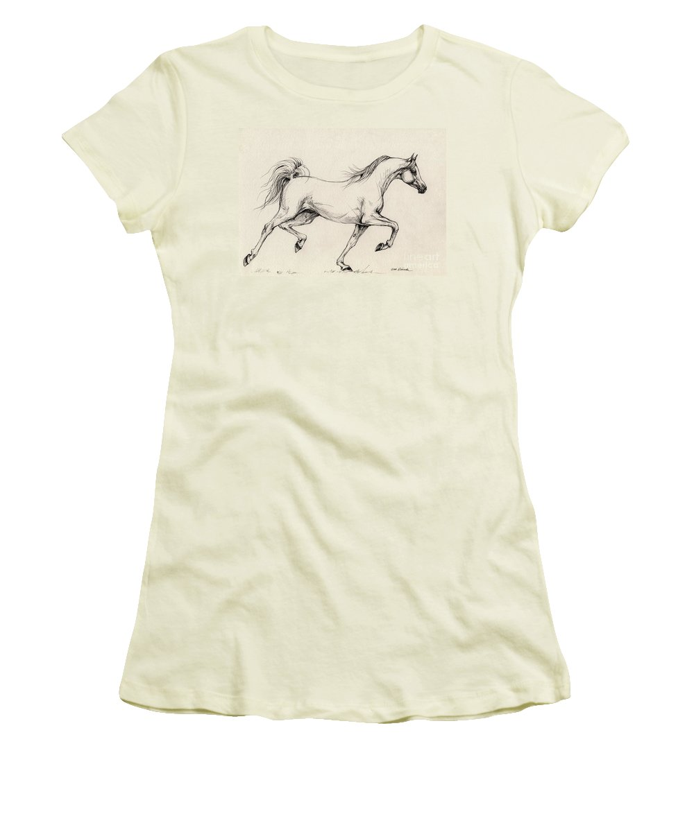 Grey Women's T-Shirt (Athletic Fit) featuring the drawing Arabian Horse Drawing 31 by Angel Ciesniarska