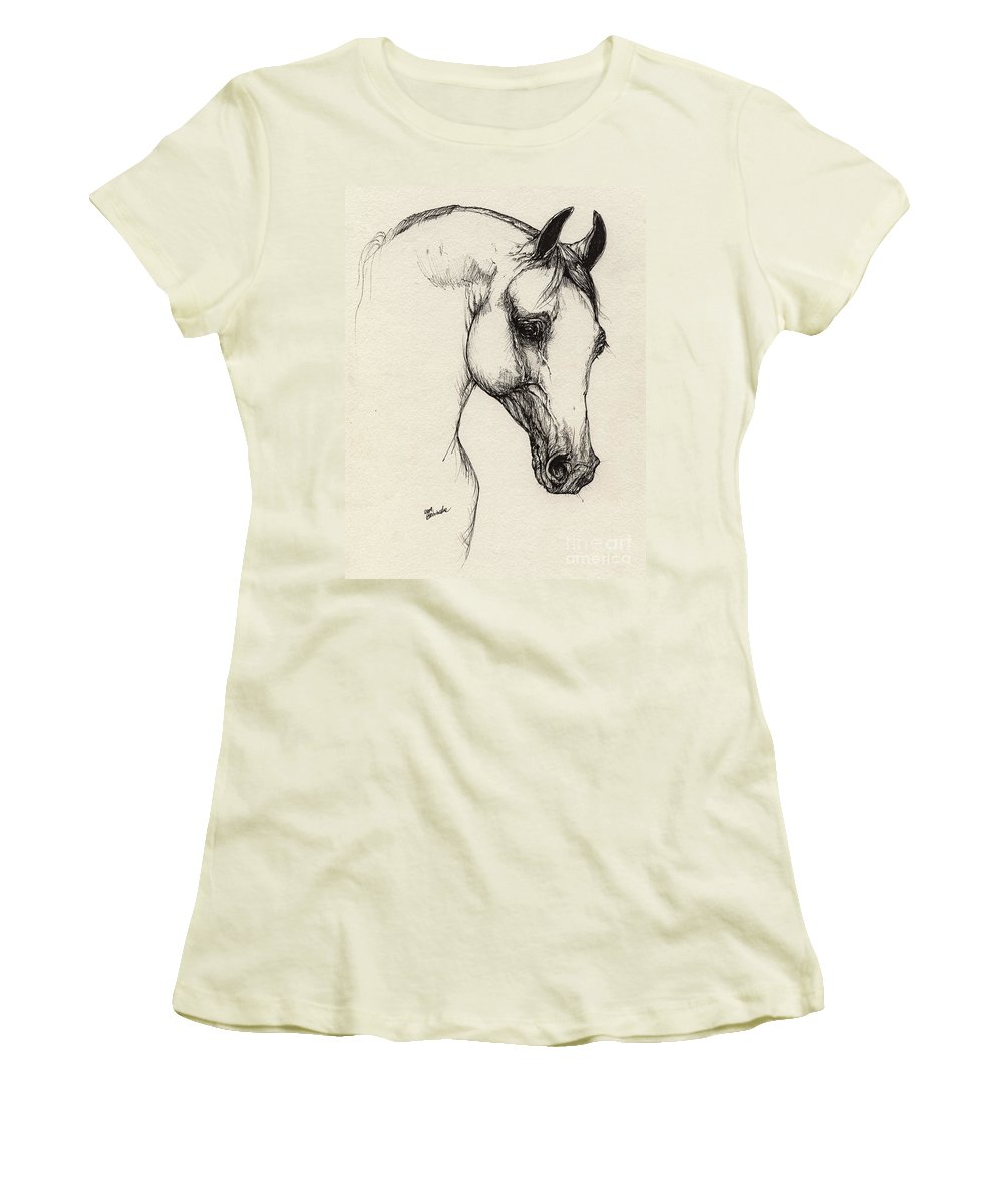 Horse Women's T-Shirt (Athletic Fit) featuring the drawing Arabian Horse Drawing 32 by Angel Ciesniarska