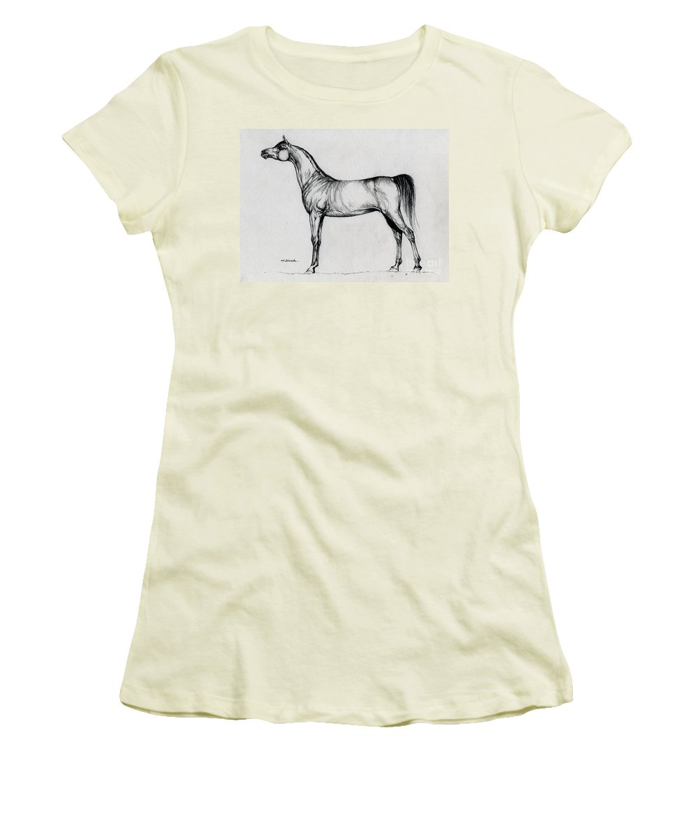 Arab Women's T-Shirt (Athletic Fit) featuring the drawing Arabian Horse Drawing 34 by Angel Ciesniarska