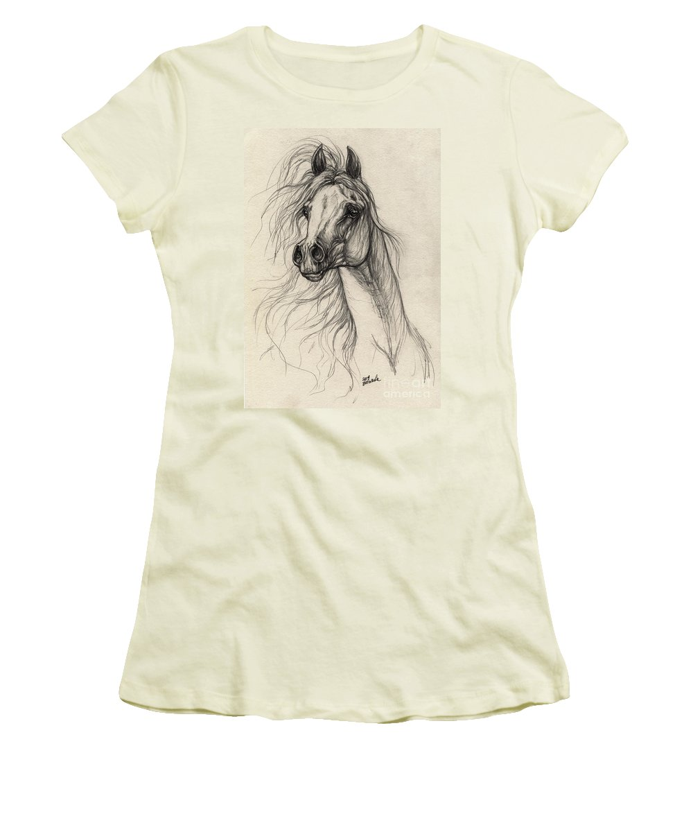 Horse Women's T-Shirt (Athletic Fit) featuring the drawing Arabian Horse Drawing 37 by Angel Ciesniarska