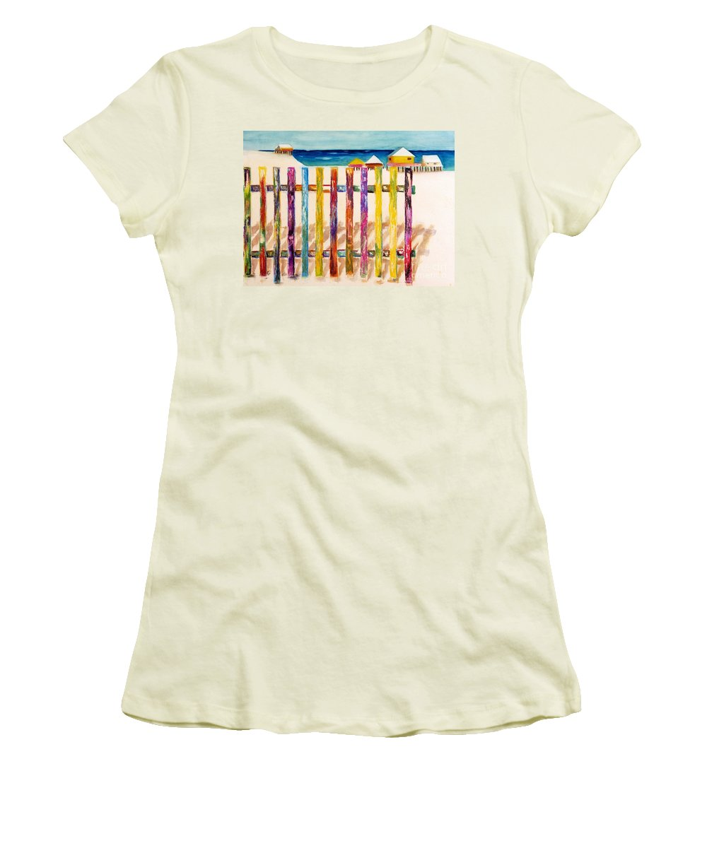 Beach Women's T-Shirt (Athletic Fit) featuring the painting At The Beach by Frances Marino